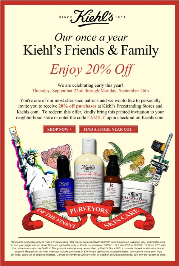 Kiehls Friends Family Kiehls Friends & Family Sale